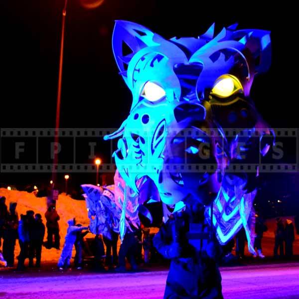 Stunning wolf mask staring at spectators