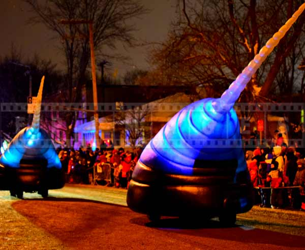Futuristic sci-fi alien looking vehicle at Quebec city winter night parade