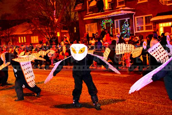 Owl dancers at Quebec city night parade