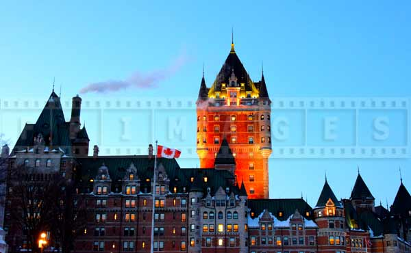 Chateau Frontenac grand hotel in Quebec City, view from citadel