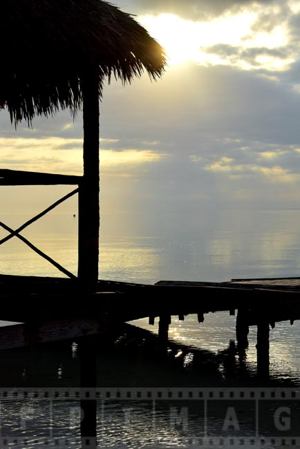 Sunrise and palapa gazebo