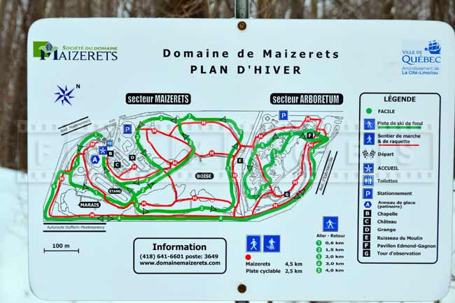 Hiking trails and skiing map, Domaine Maizerets