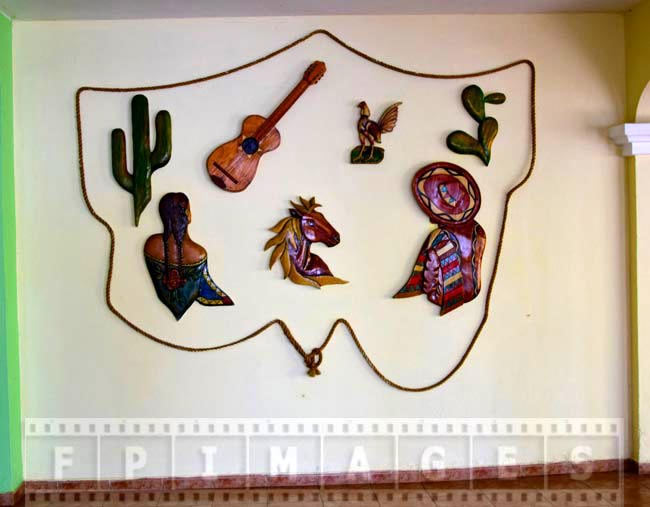Wall decorations at the resort, Cuba symbols