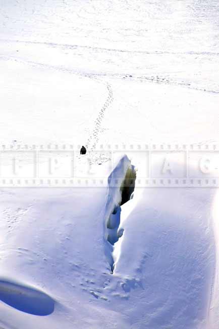 Winter scene at Montmorency falls