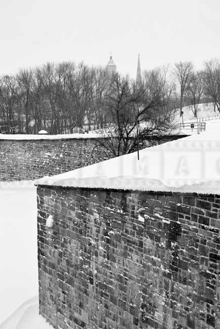 Quebec Citadel old walls and church spires, Quebec winter cityscape