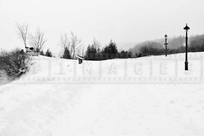Winter hiking trail follows the steep edge