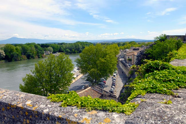 River Rhone and parking near town wall