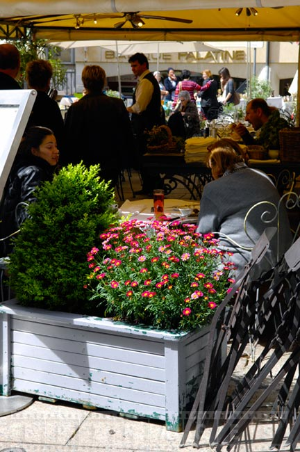 Outdoor restaurant with flowers in the spring