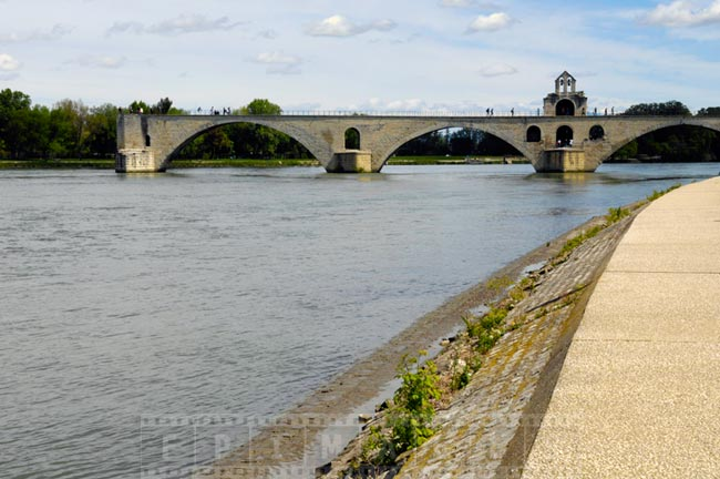 Avignon Bridge across river Rhone