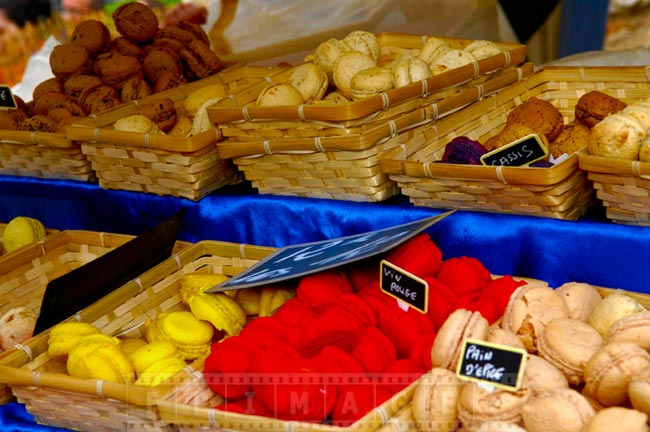 Traditional French macaroons, colorful sweet treats