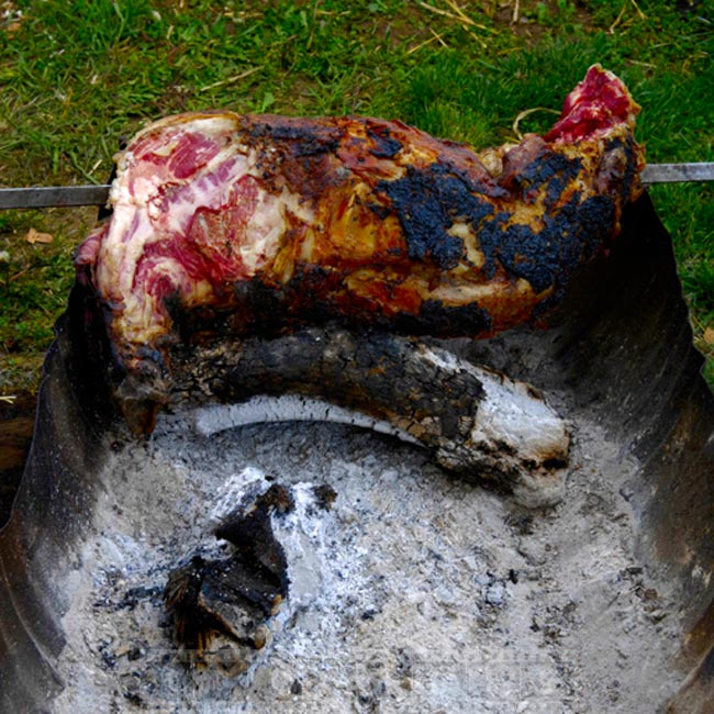 Chunk of meat, charcoal barbecue