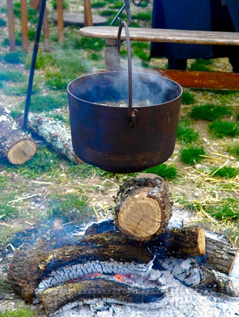 Traditional open fire cooking