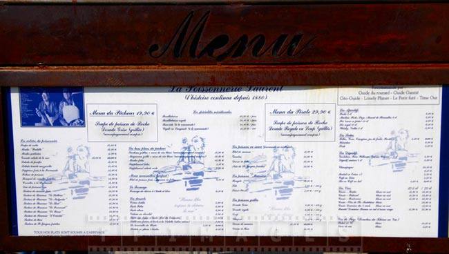 French seafood restaurant menu in Cassis