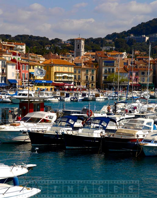 south of france cassis provence port and town view