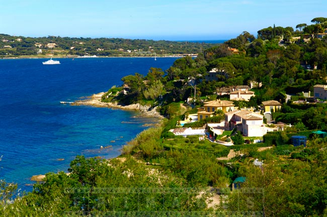 Saint Tropez blue Mediterranean sea and emerald hills