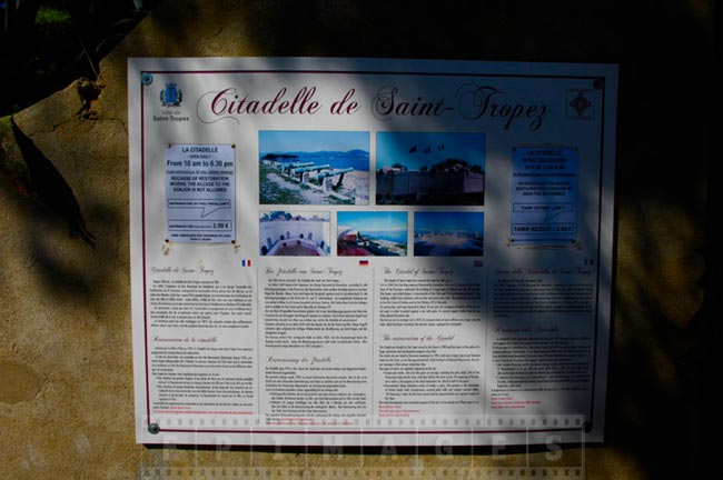 Citadel sign explaining attractions and historic sites