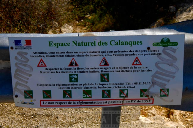 Sign showing allowed activities to protect nature of the park