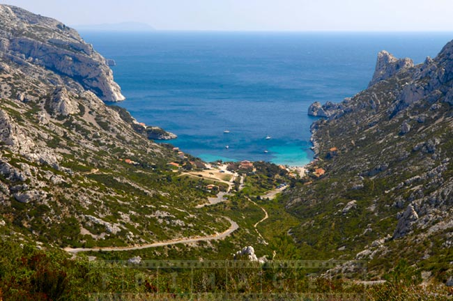 Mediterranean sea and mountains at Sormiou cove (calanque)