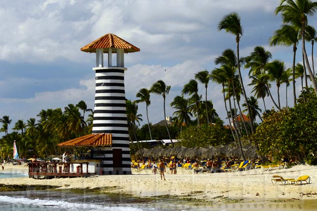 Lighthouse bar at the beach, all inclusive resort in La Romana