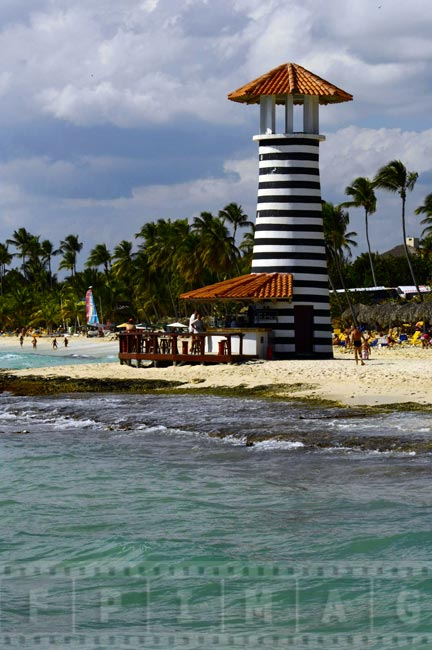 Beach bar shaped as lighthouse