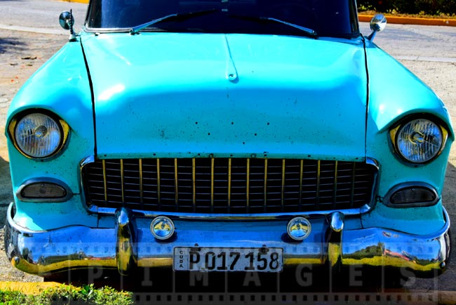 Amazing bright blue color of 1950-s Chevy in Cuba