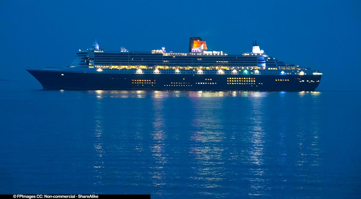Queen Mary 2 cruise ship during morning twilight near Halifax, NS, Canada