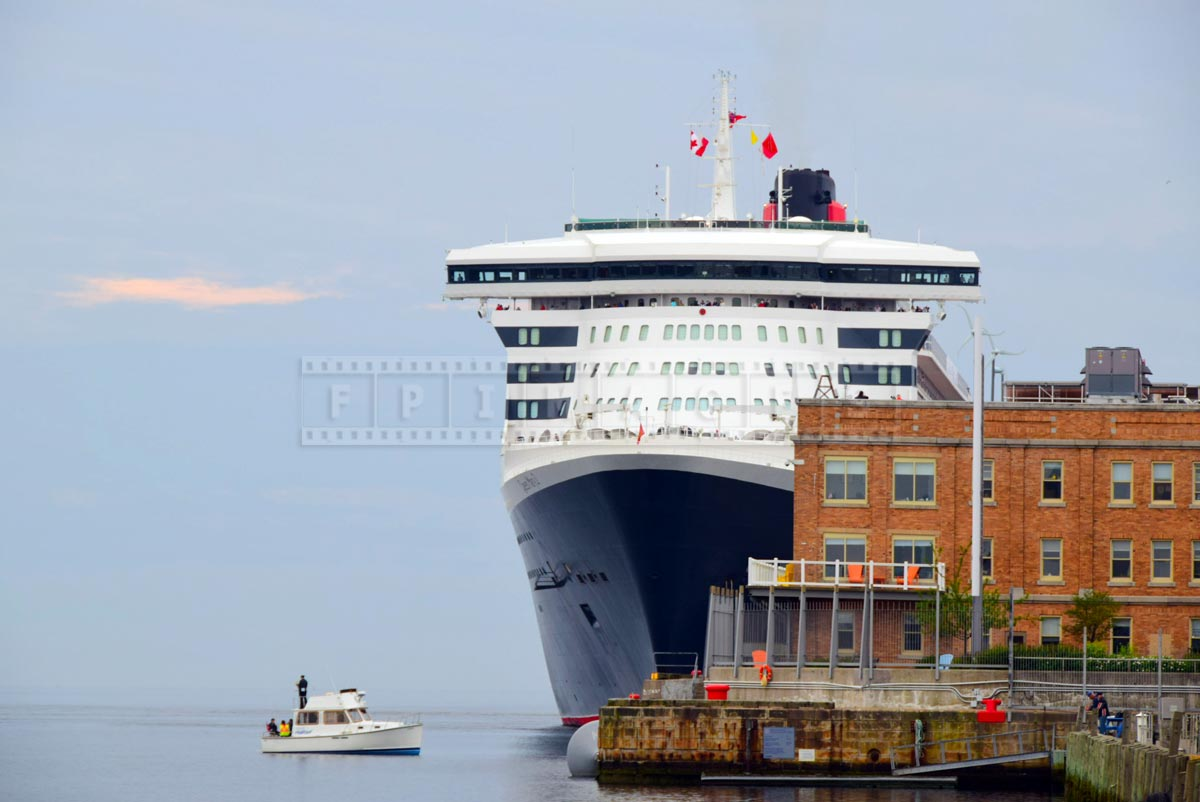 Queen Mary 2 at pier 21 in Halifax seaport