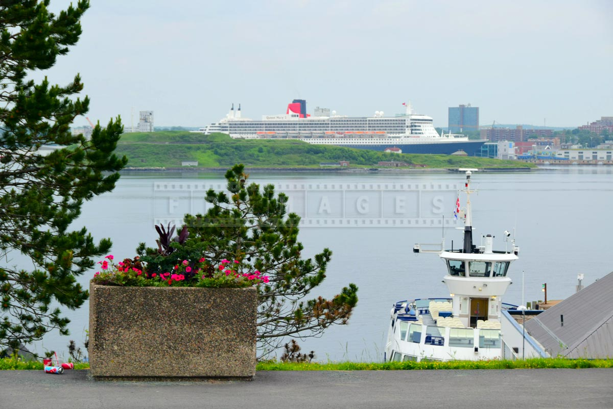 Queen Mary 2 at port of Halifax, view from Dartmouth ferry