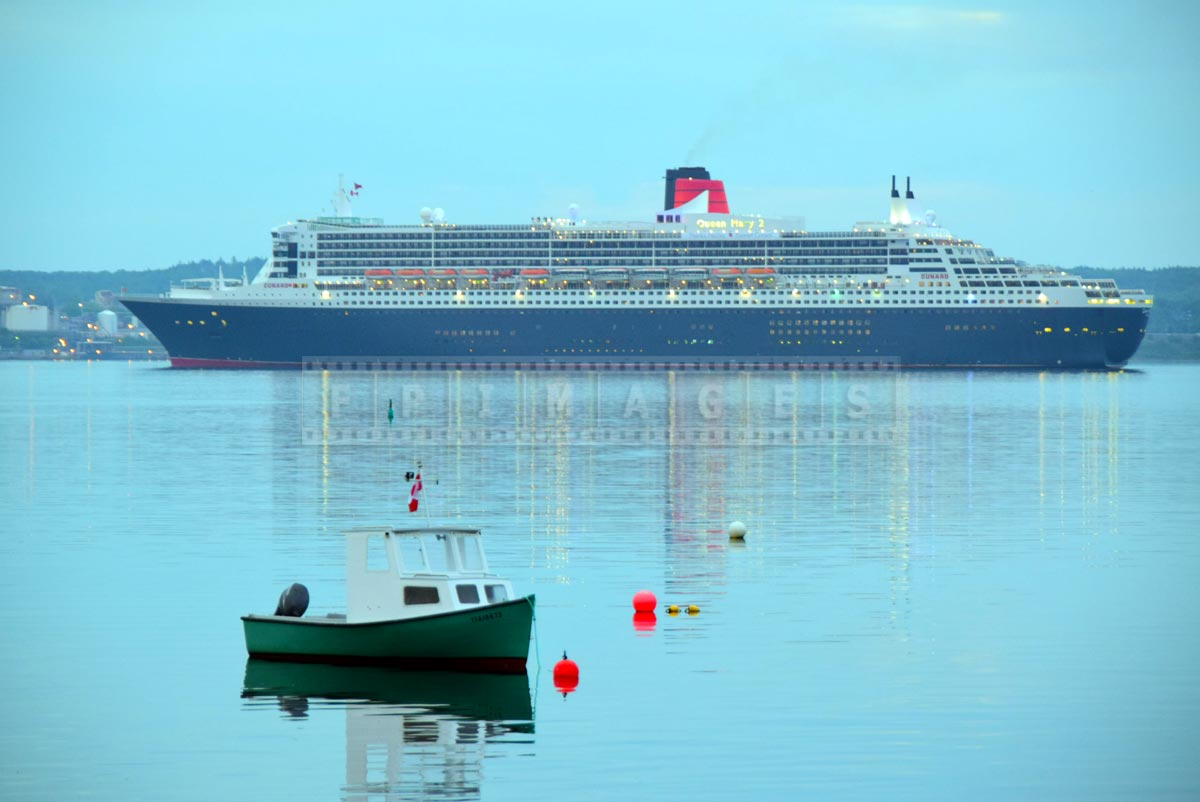 RMS Queen Mary 2 in front of Purcell's Cove in Halifax, NS, Canada