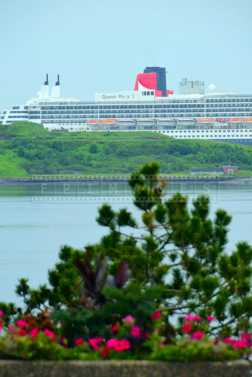 RMS Queen Mary 2 and George's Island, picturesque seascape