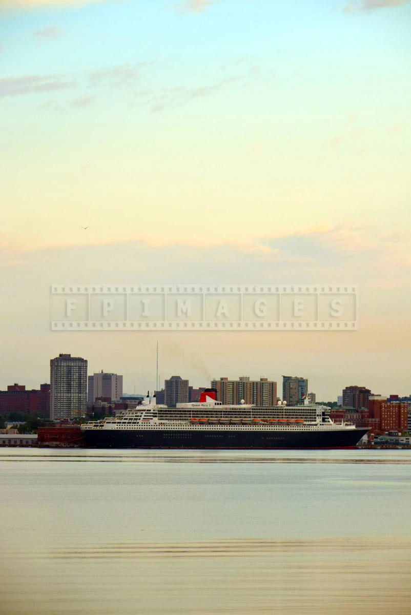 Queen Mary 2 at sunrise on July 10, 2015 in port of Halifax