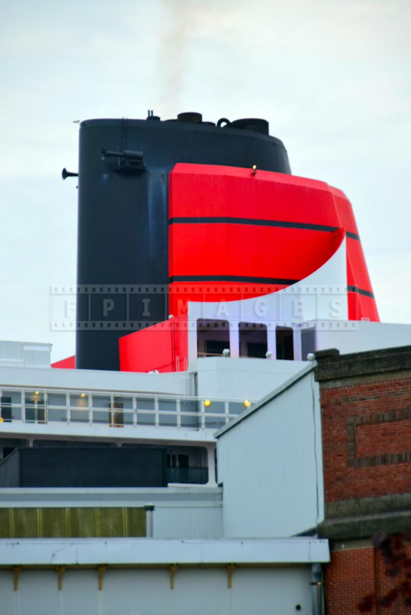 Iconic orange funnel of Cunard Line