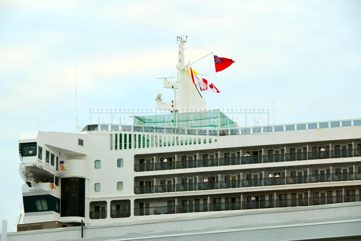 Main mast with flags of QM2, Cunard line flagship
