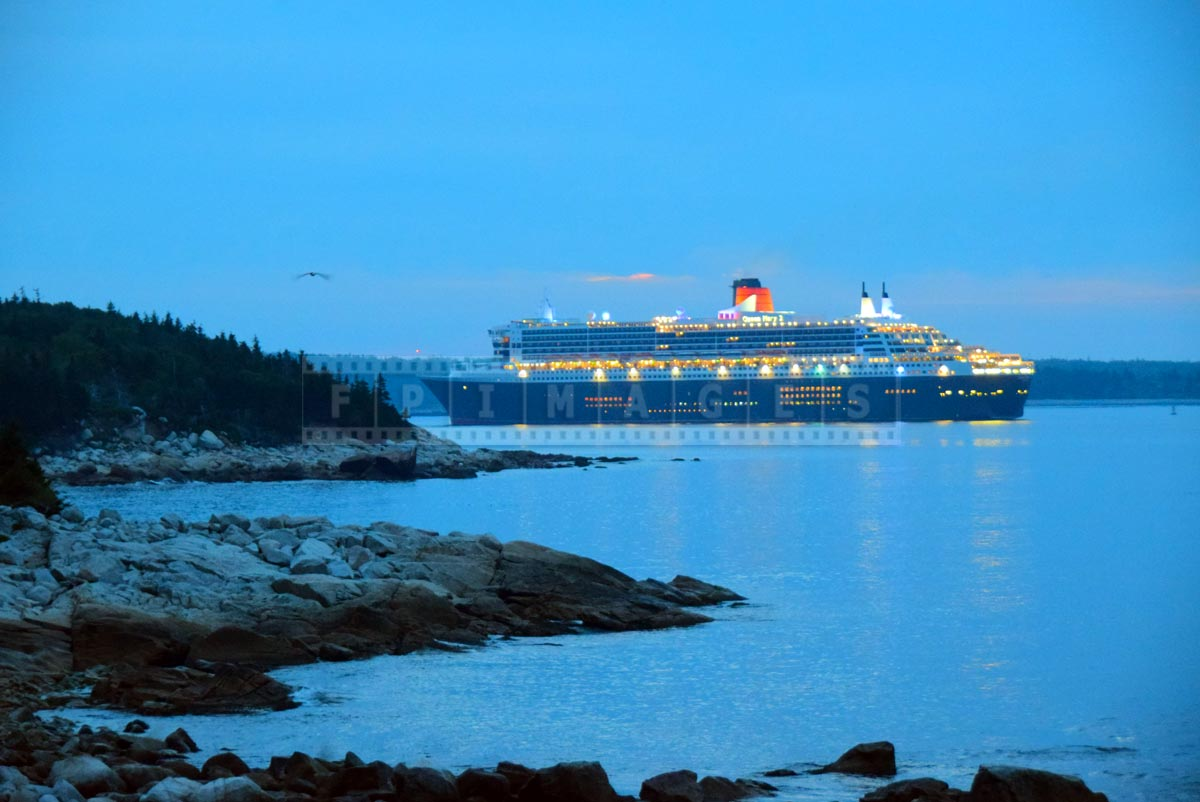 Cunard Line flagship Queen Mary 2 enters Halifax harbor, view from Herring Cove