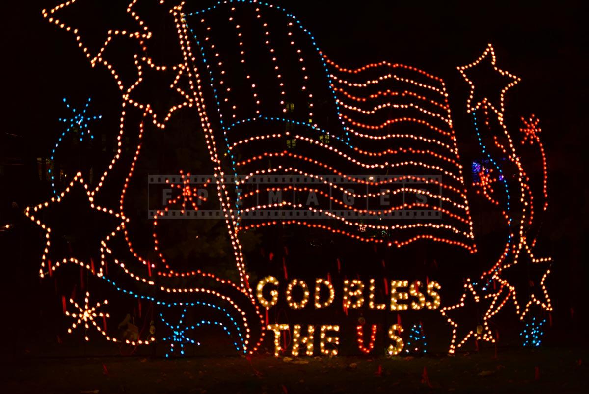 God Bless the USA Xmas lights sign