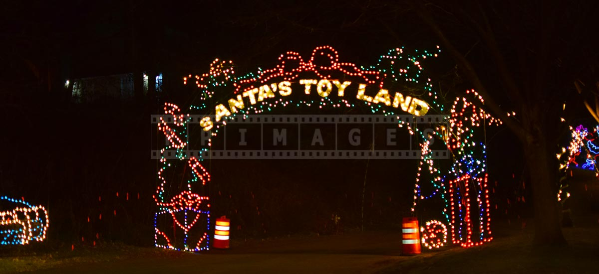Santa's toy land section of the holiday lights drive through