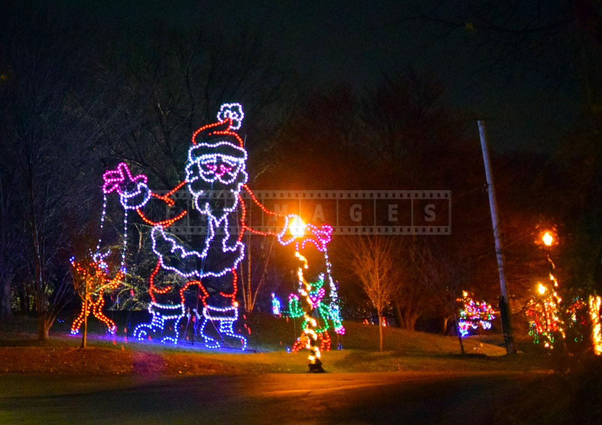 Santa with puppets holiday lights