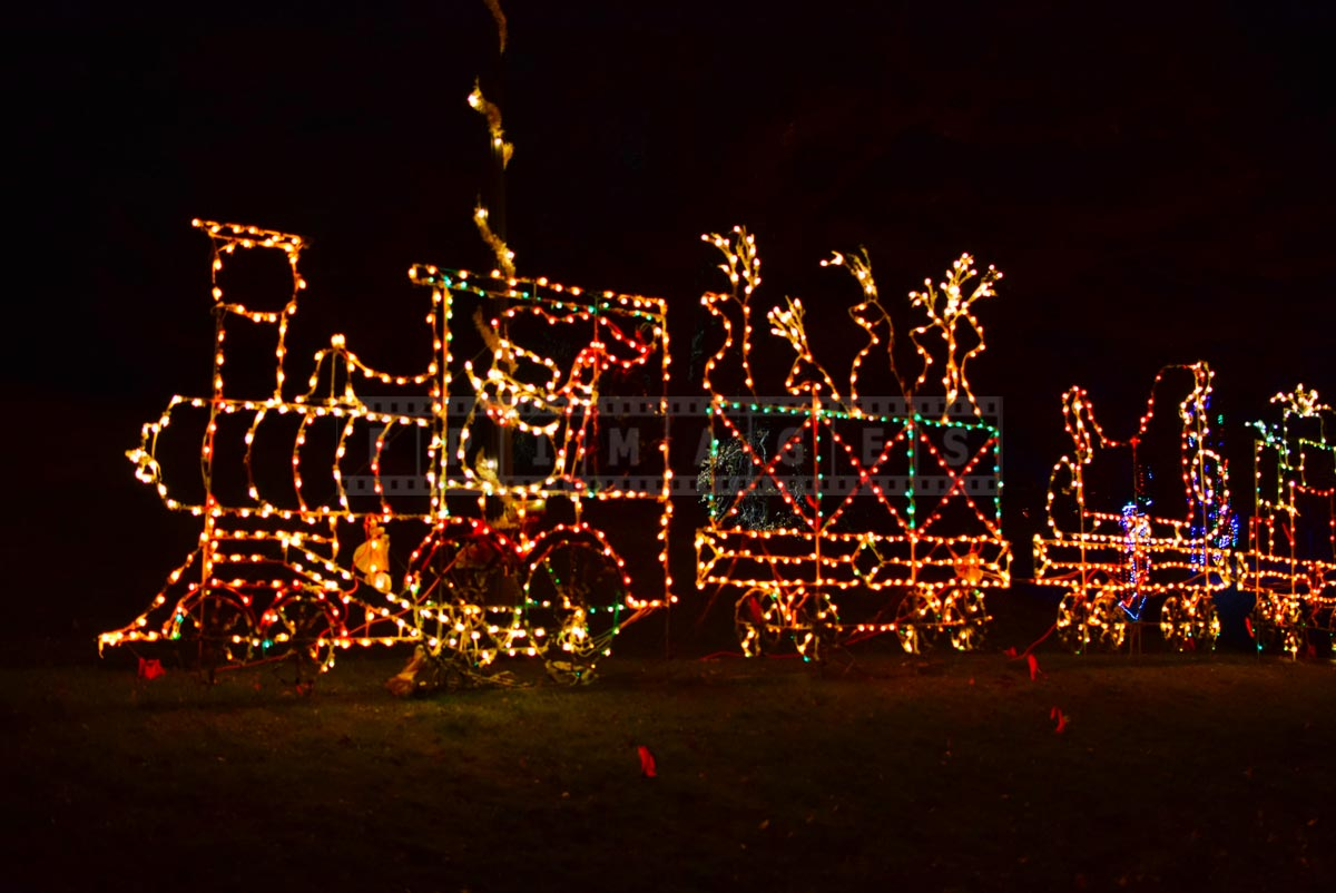 Xmas train with reindeer - bright and colorful Xmas decoration