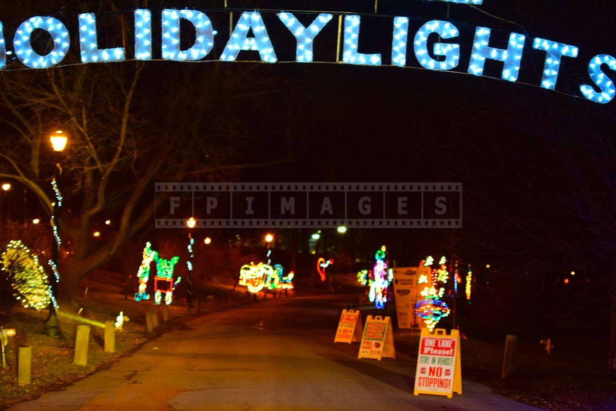 Entrance to holiday lights in the park drive through