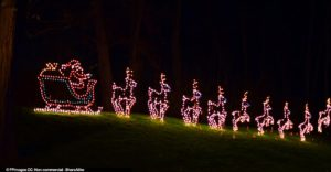 Santas sleigh with reindeer - Xmas lights