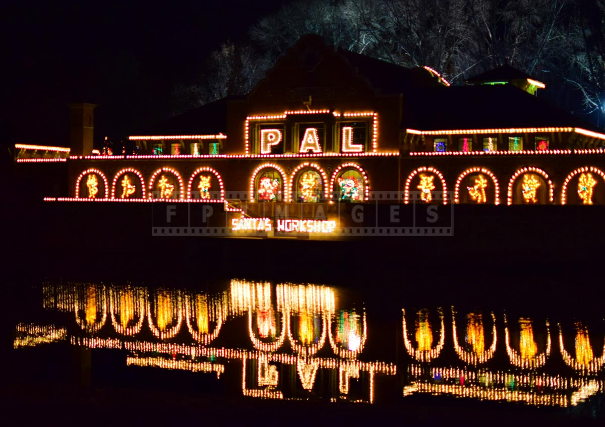 Night reflections of PAL pavilion with Xmas crafts, arts and gifts