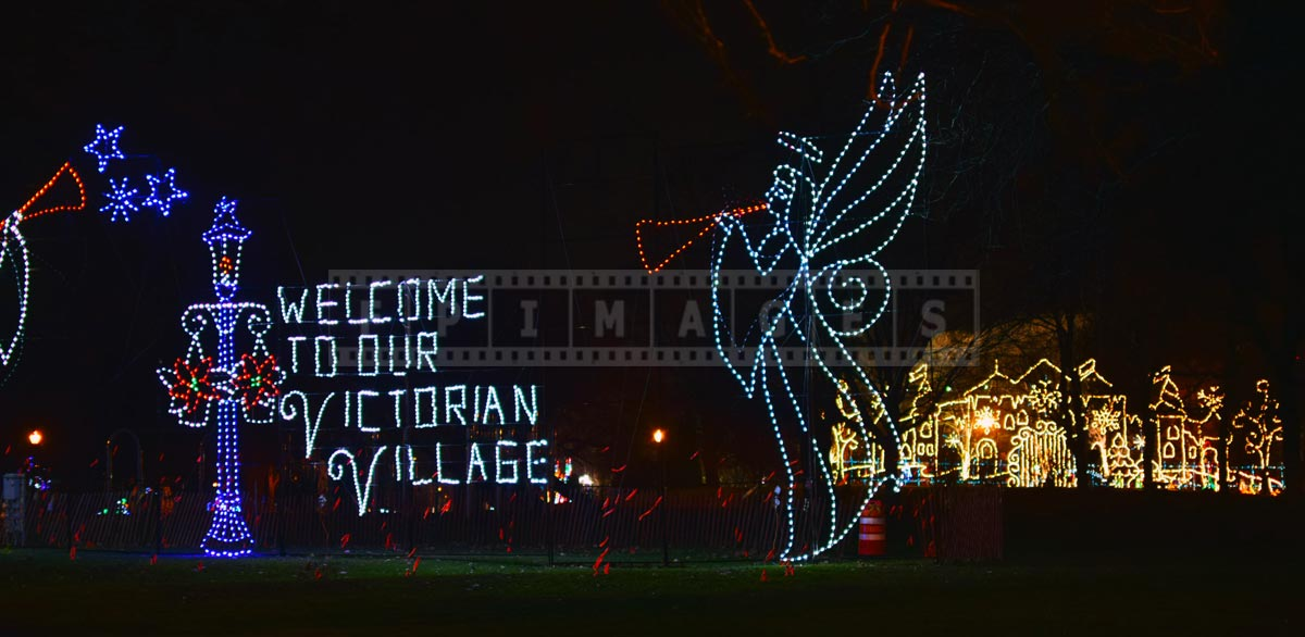 Awesome Christmas lights at the entrance to Victorian village