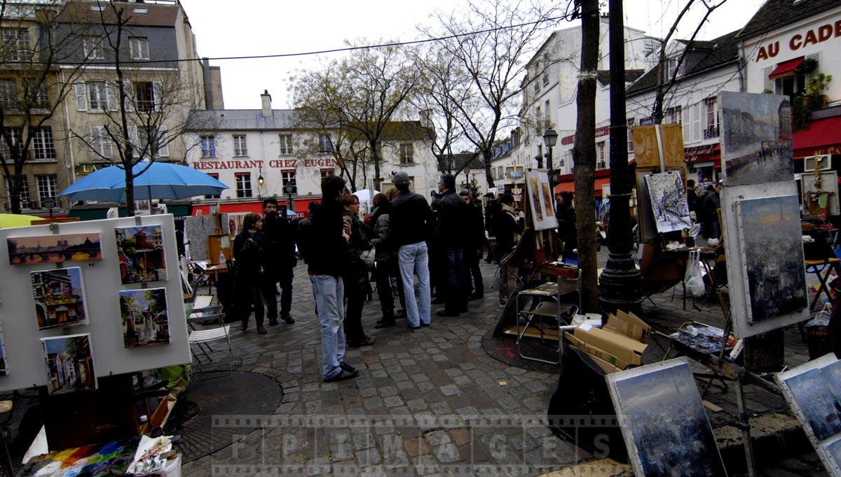 Montmartre street exhibition of artworks