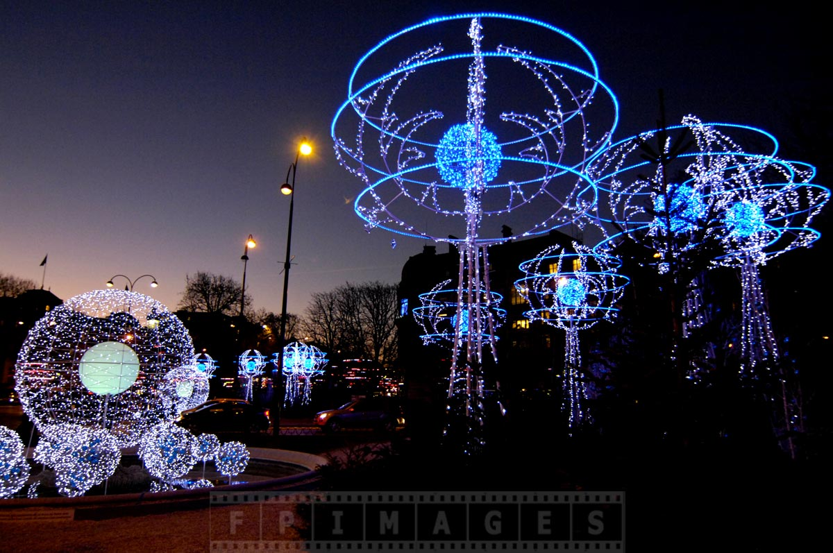 Romantic street lights decorations at Champs Elysee