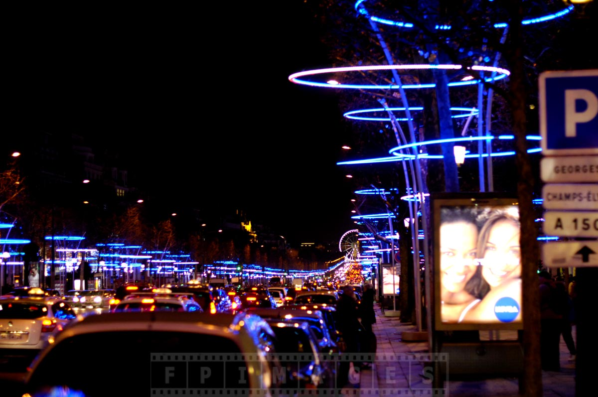 Concorde ferris wheel and Champs Elysee at night