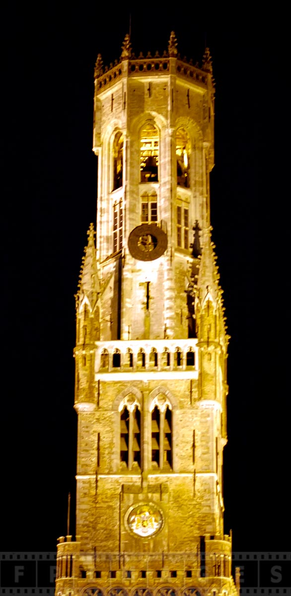 Bruges Belfry at night, example of well preserved medieval architecture