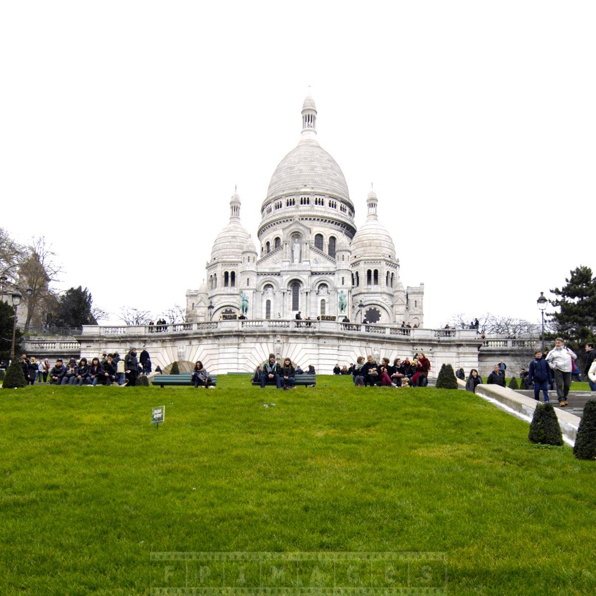 Sacre Coeur basilica - famous landmark in Montmartre, Paris, France