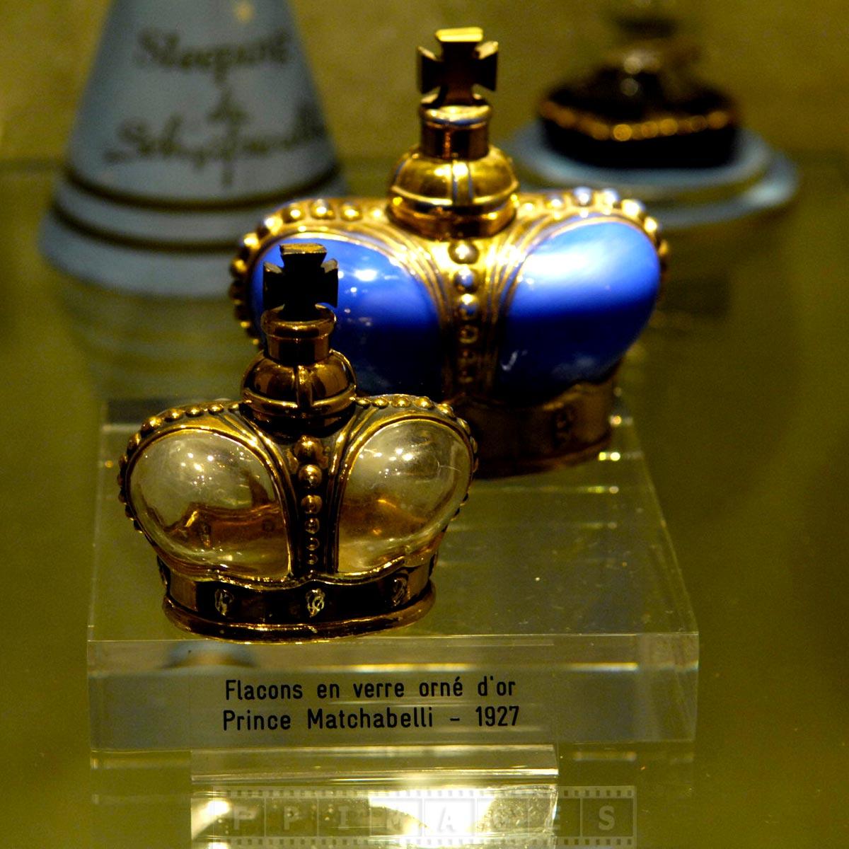 Elegant perfume bottles of Prince Matchabelli perfume line circa 1927