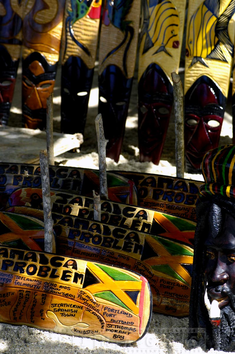 Wooden crafts at Jamaica market