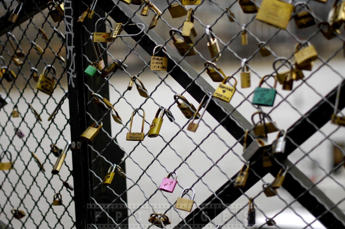 Love locks at Pont des Arts, romantic Paris site